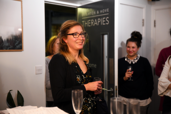 Emily Squires from Impact Initiatives at the Healthy Business Hub Christmas event 2018