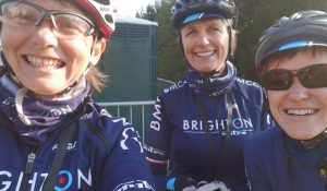 Brighton Mitre CC Women Maria, Suzanne and Isobel prior to the marathon