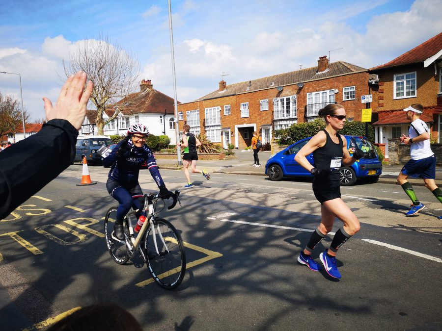 Cycling alongside elite runner Jill Collette (photo thanks to Life Green Events) https://www.facebook.com/Life-Green-Events-419004394864138/