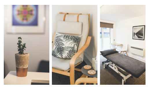 Three pictures of Brighton & Hove Therapies room hire, showing a plant in a pot, a comfortable therapy room chair and a light, airy room with a treatment couch and large windows.